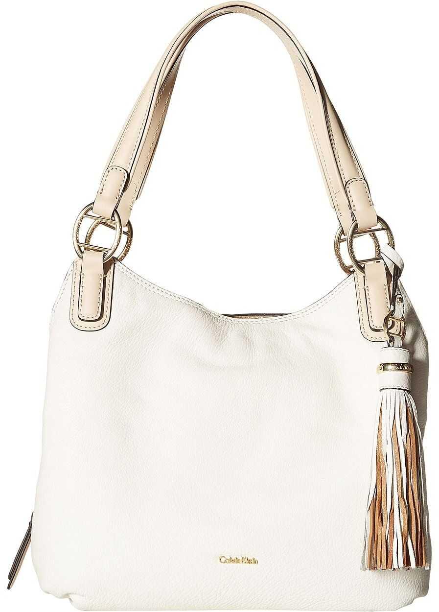 Calvin Klein Holly Pebble Leather Hobo White