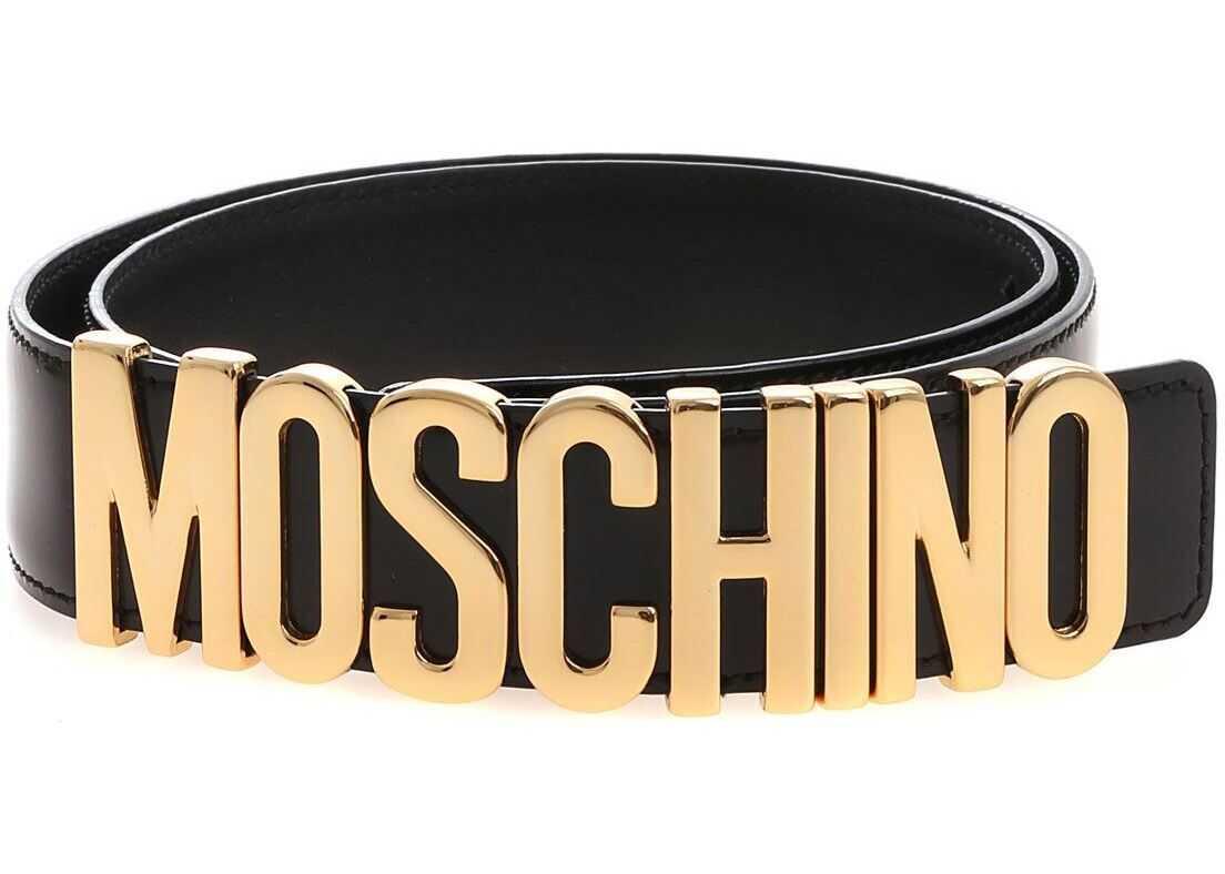 Moschino Black Belt With Moschino Logo Black
