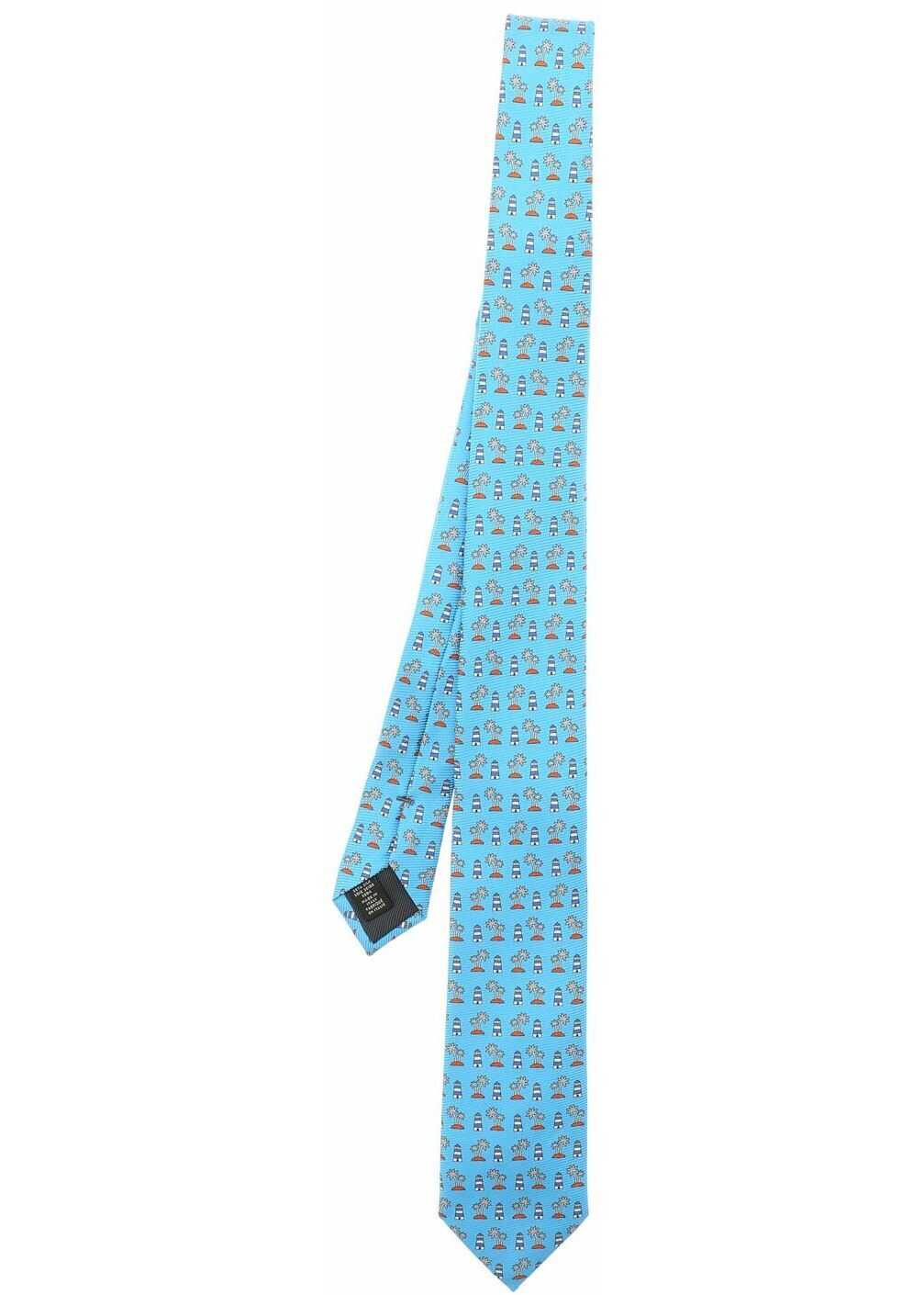 Ermenegildo Zegna Blue Silk Tie With Pattern Light Blue