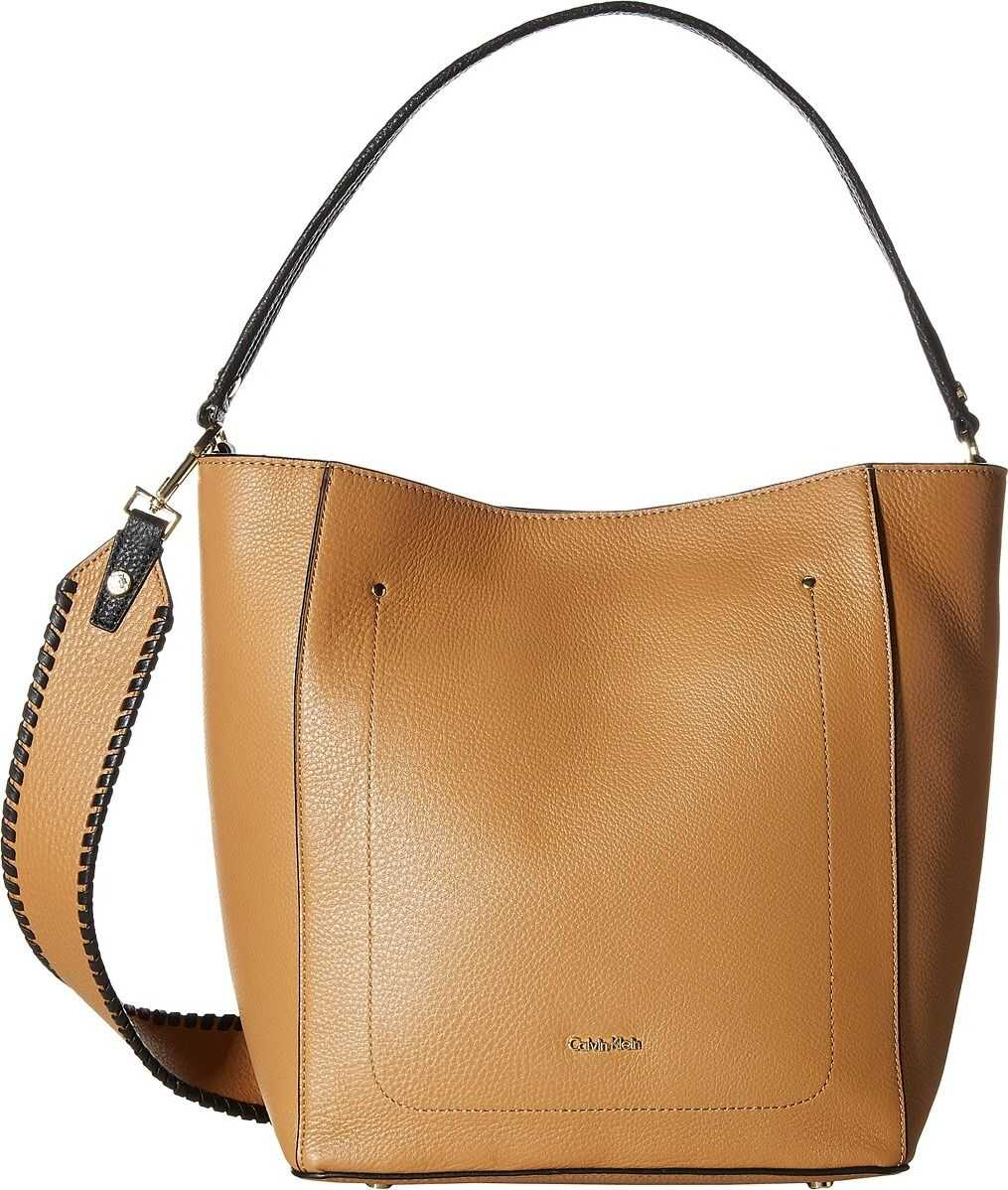 Calvin Klein Pebble Leather Hobo Cashew