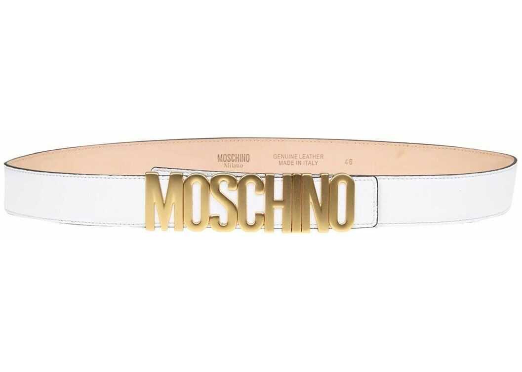 Moschino Lettering Logo Belt In White White