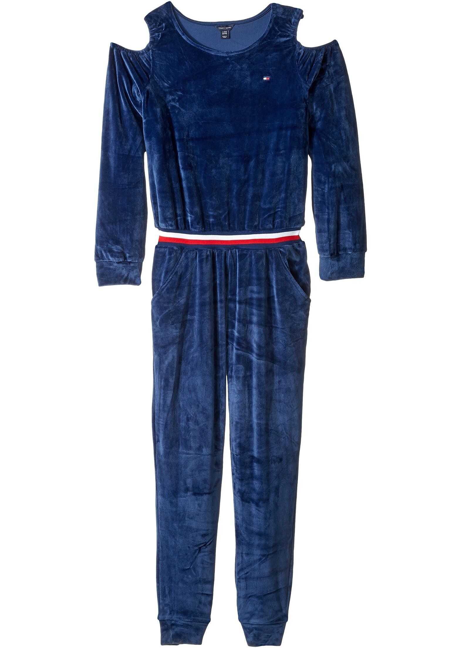Cold Shoulder Stretch Velvet Jumpsuit (Big Kids)