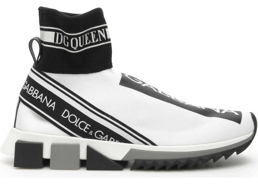 Dolce & Gabbana Sorrento Hi-Top Running Sneakers BIANCO NERO BIANCO