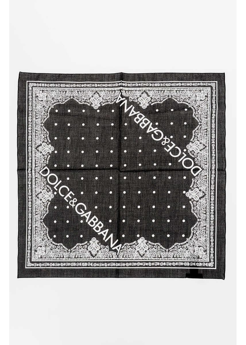Dolce & Gabbana 50x50cm Cotton Foulard BLACK