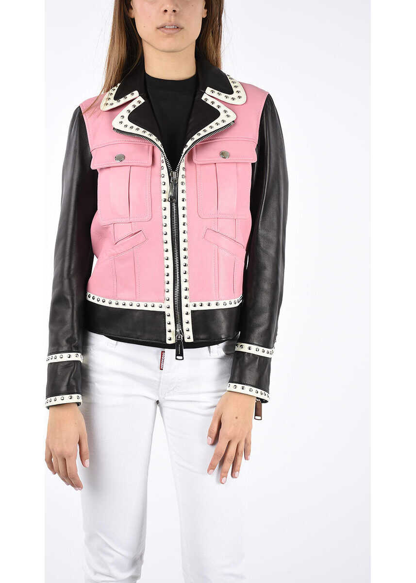 DSQUARED2 Leather Jacket with Blazer WHITE
