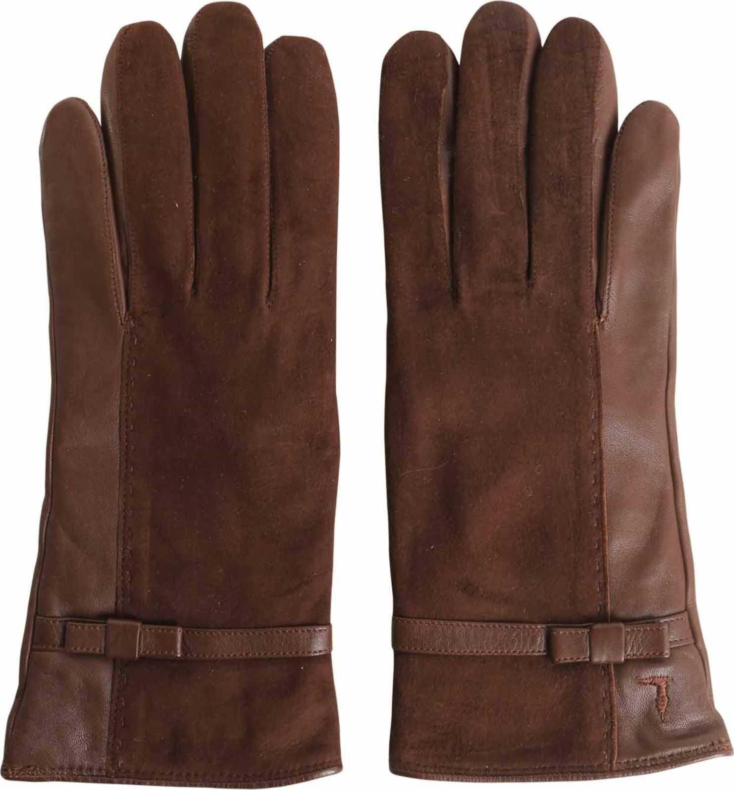 Tru Trussardi Nappa And Suede Gloves BROWN