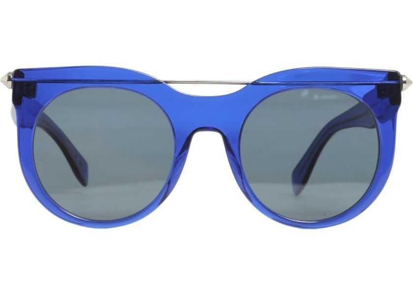 sosiri noi pantofi de separare vânzare de lichidare Ochelari de soare Alexander McQueen Piercing Bar Round Frame BLUE ...