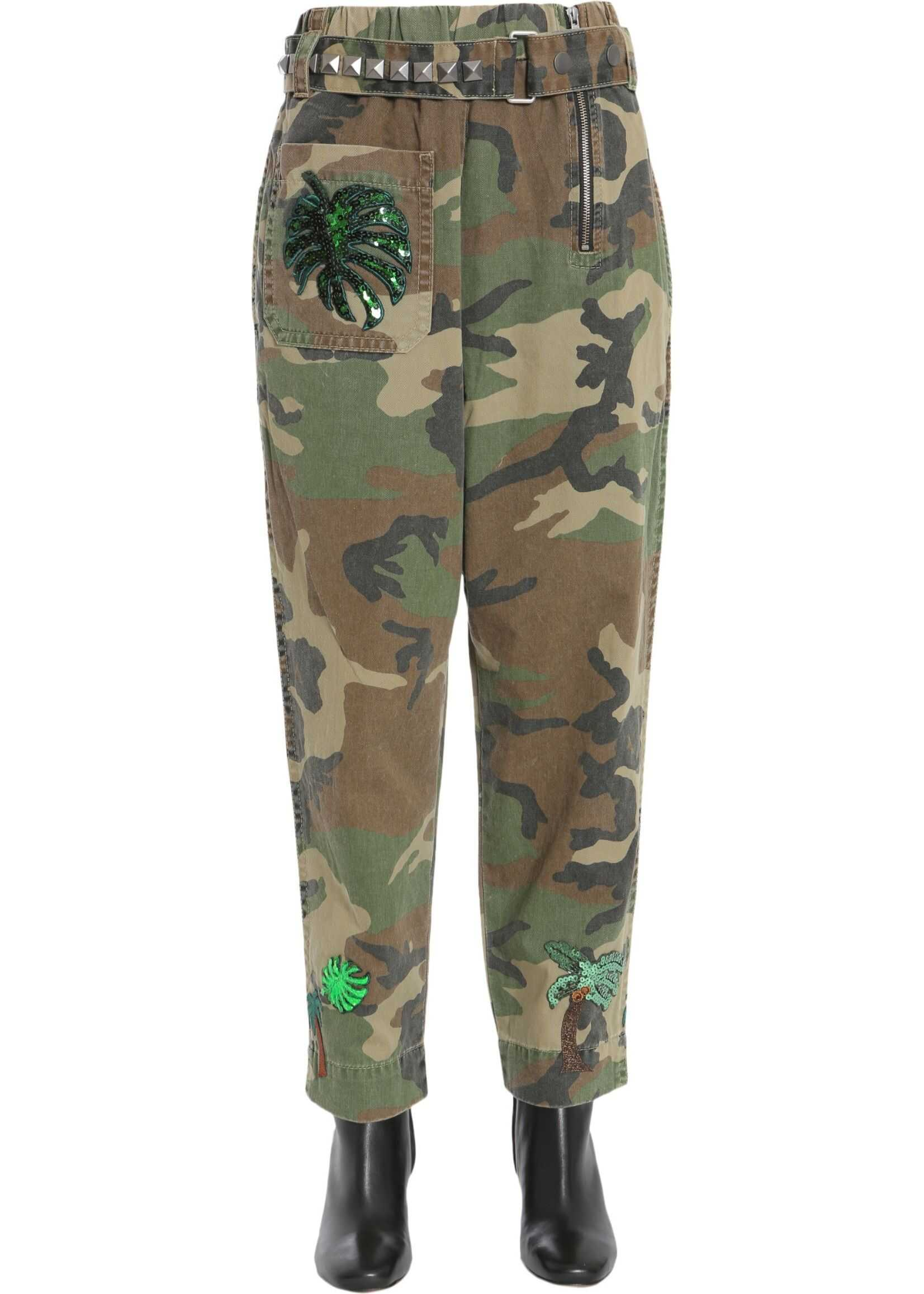 Marc Jacobs High Waist Camouflage Trousers MILITARY GREEN
