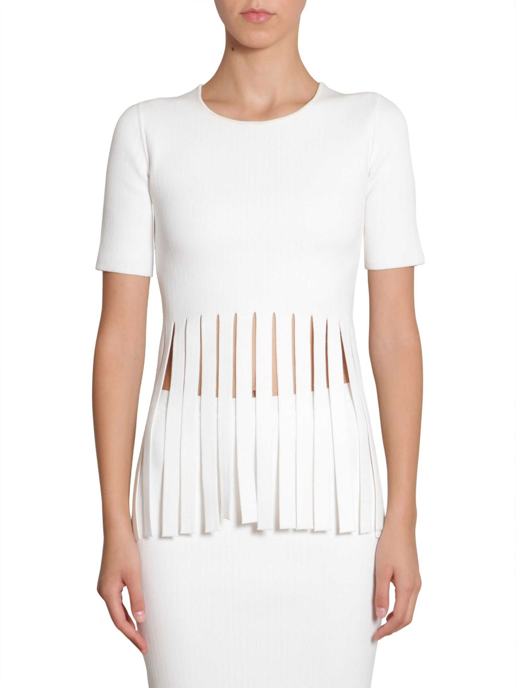 Alexander Wang Fringed T-Shirt WHITE