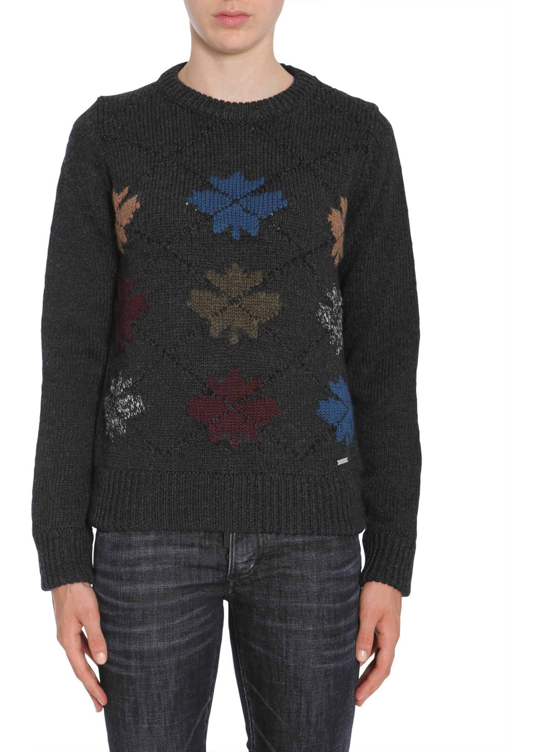 DSQUARED2 Round Collar Sweater CHARCOAL
