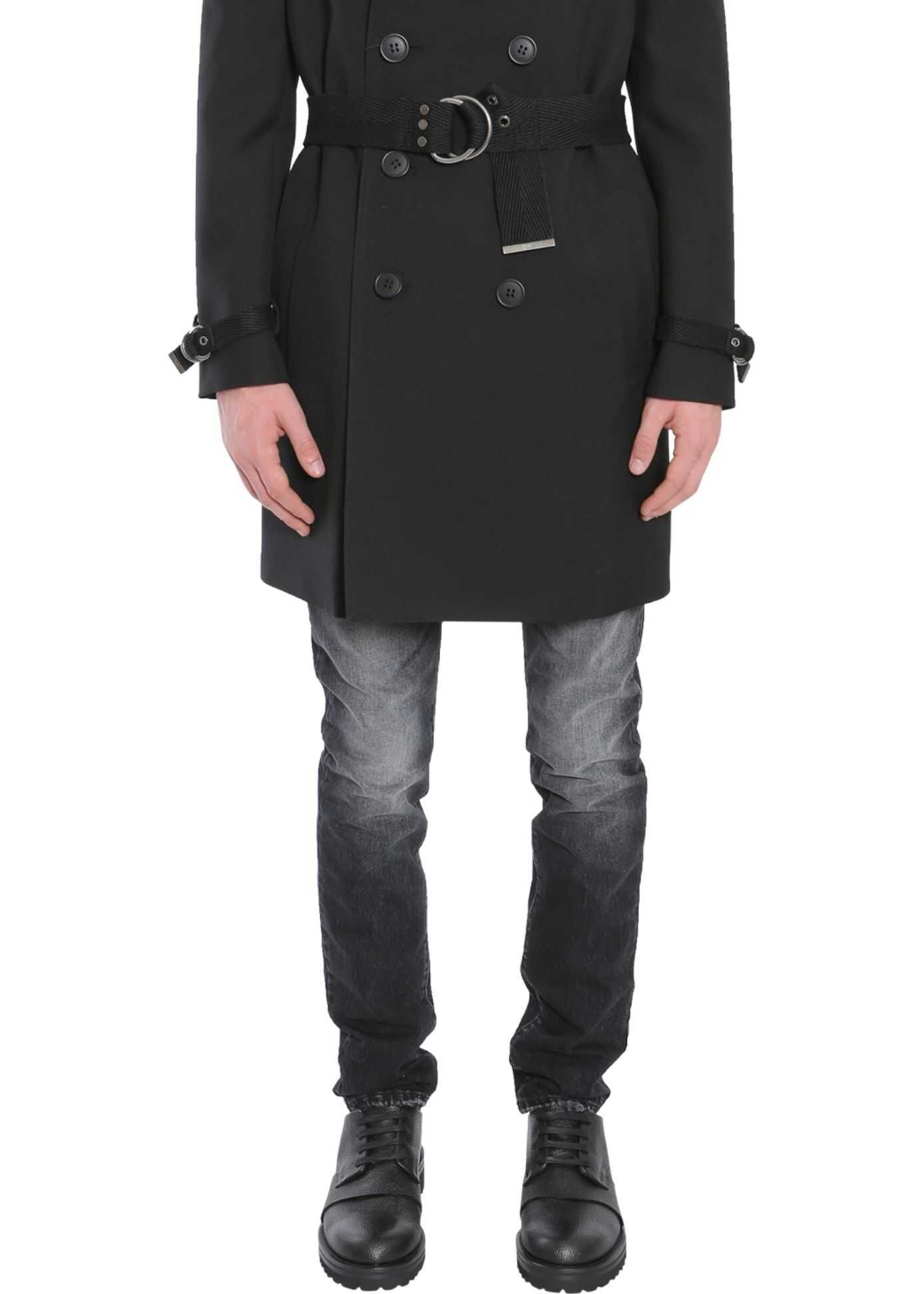 Saint Laurent Double Breasted Coat With Belt BLACK