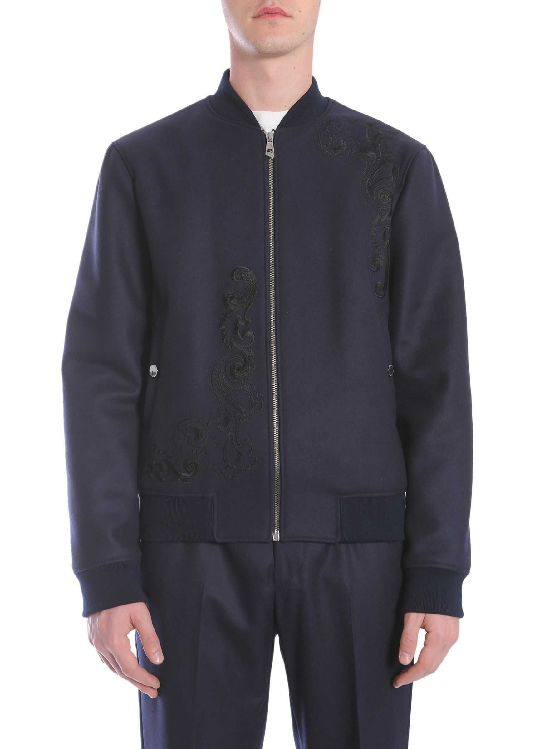 Versace Collection Wool Cloth Bomber Jacket BLUE