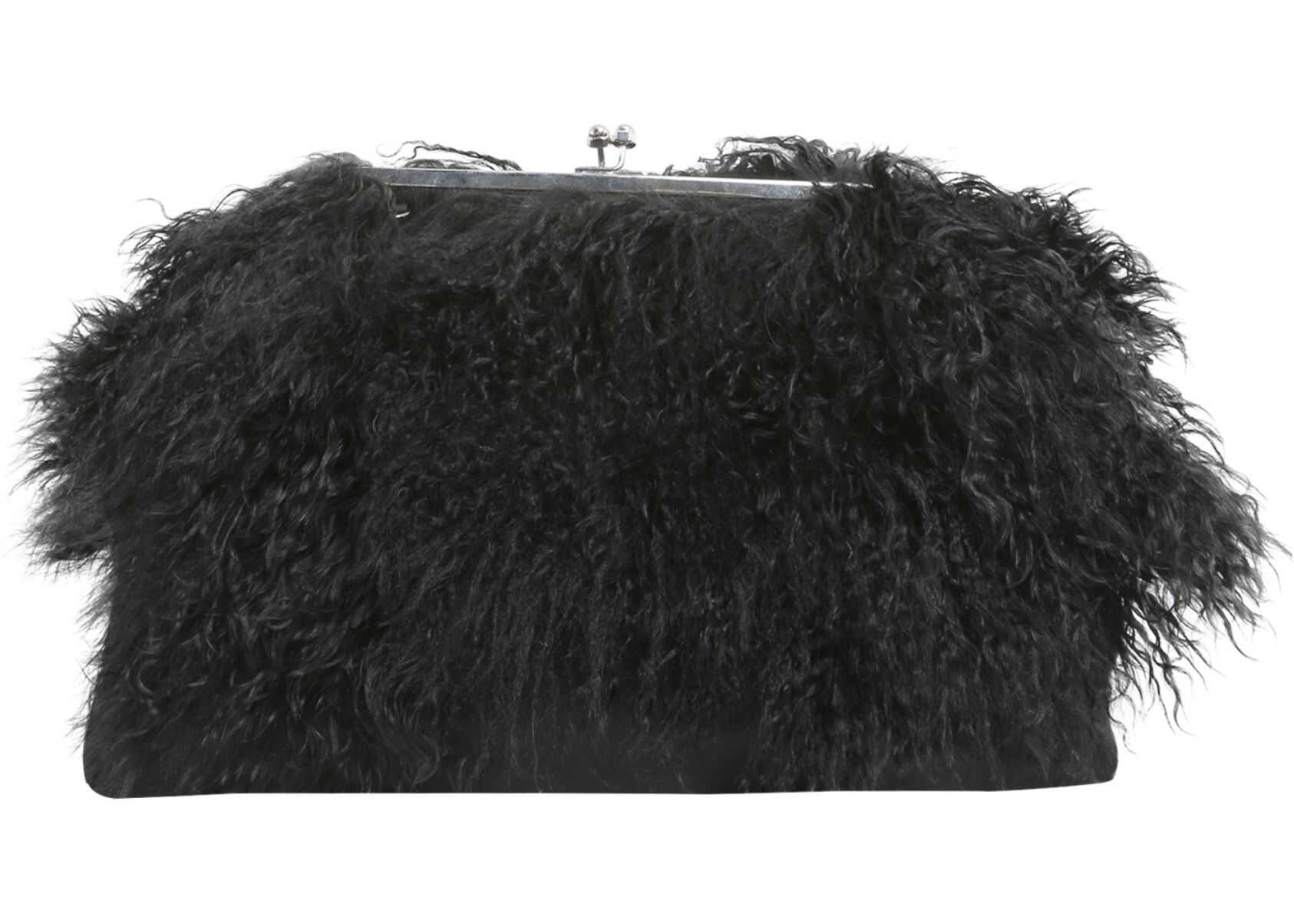 DSQUARED2 Clutch With Mongolian Fur Inserts W17CL2093_1546.2124 BLACK image0