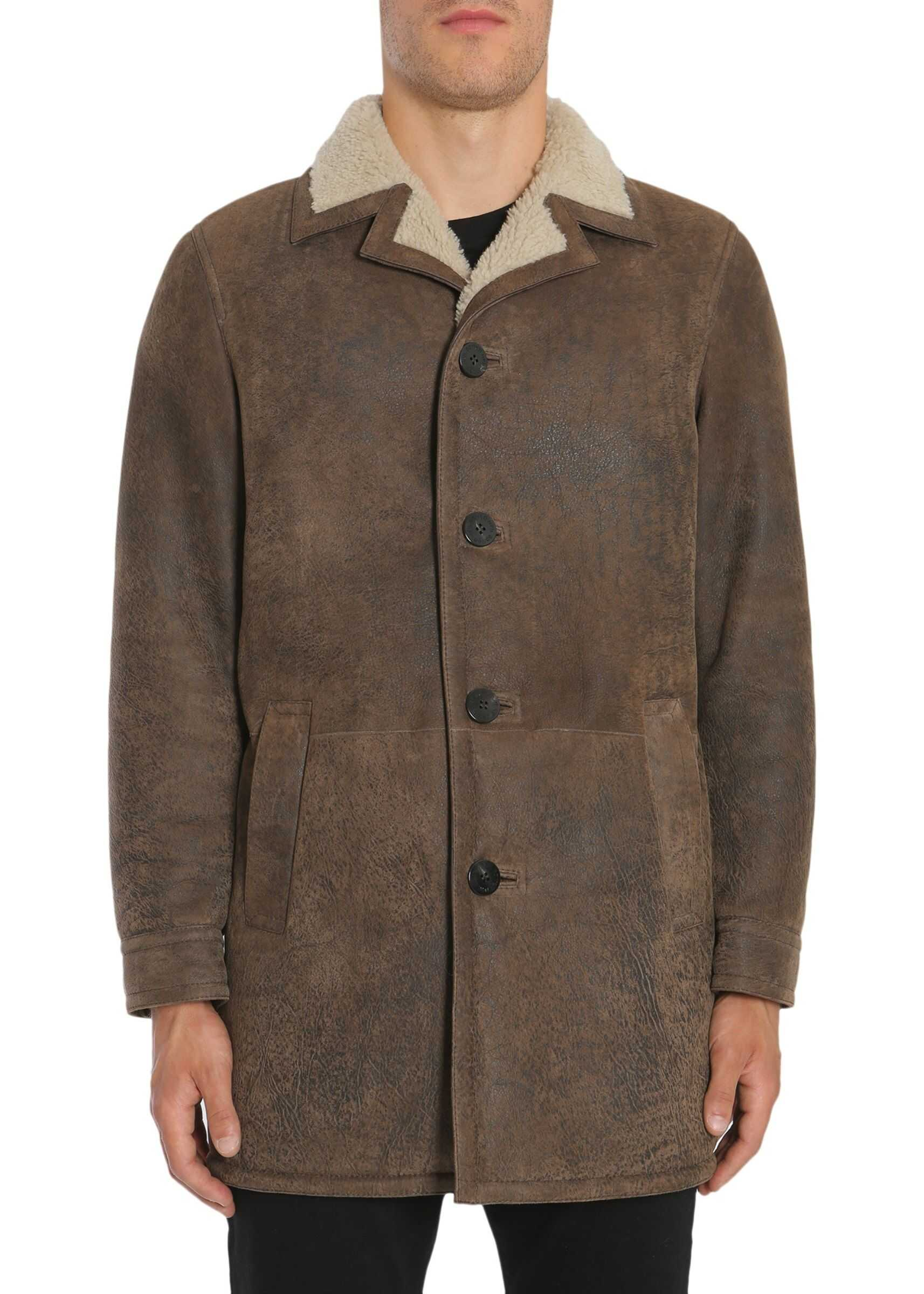 Neil Barrett Shearling Coat BROWN