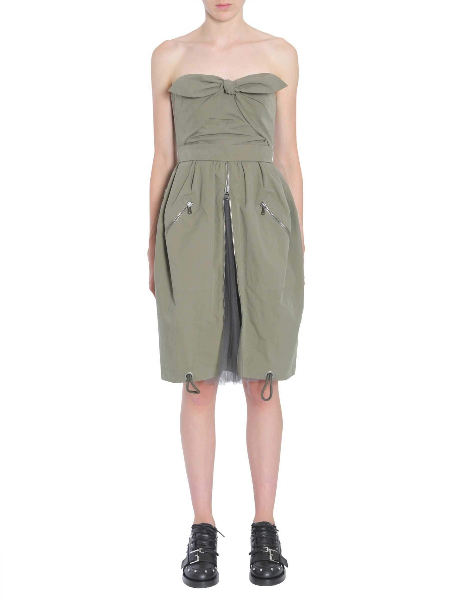 Moschino Tie Front Zip Dress MILITARY GREEN