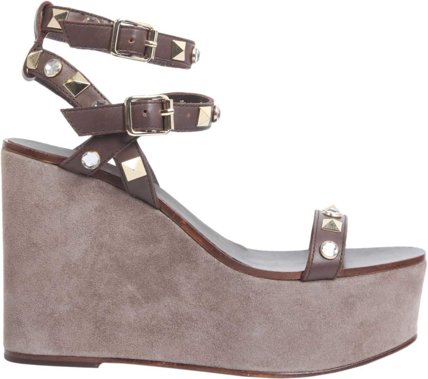 ASH Touch Wedge Sandals TOUCH01_PELLESUEDETMORO BLACK imagine b-mall.ro