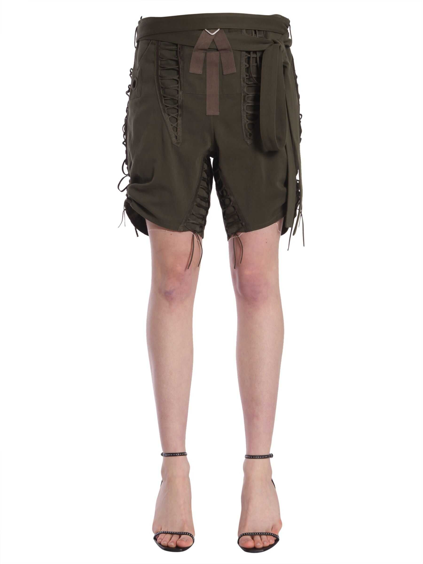 Saint Laurent Laced Military Shorts MILITARY GREEN
