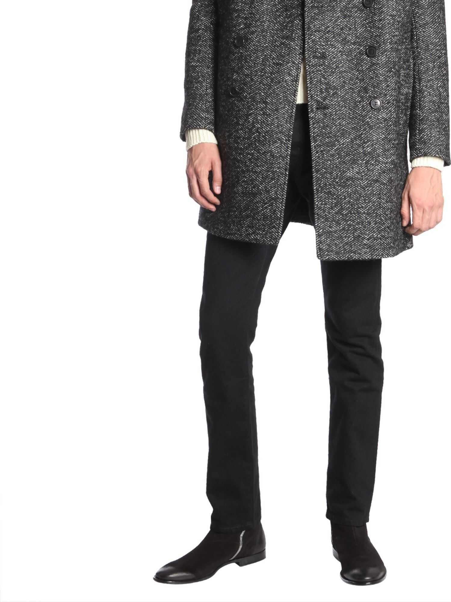 Saint Laurent Pea Coat In Chevron Wool BLACK