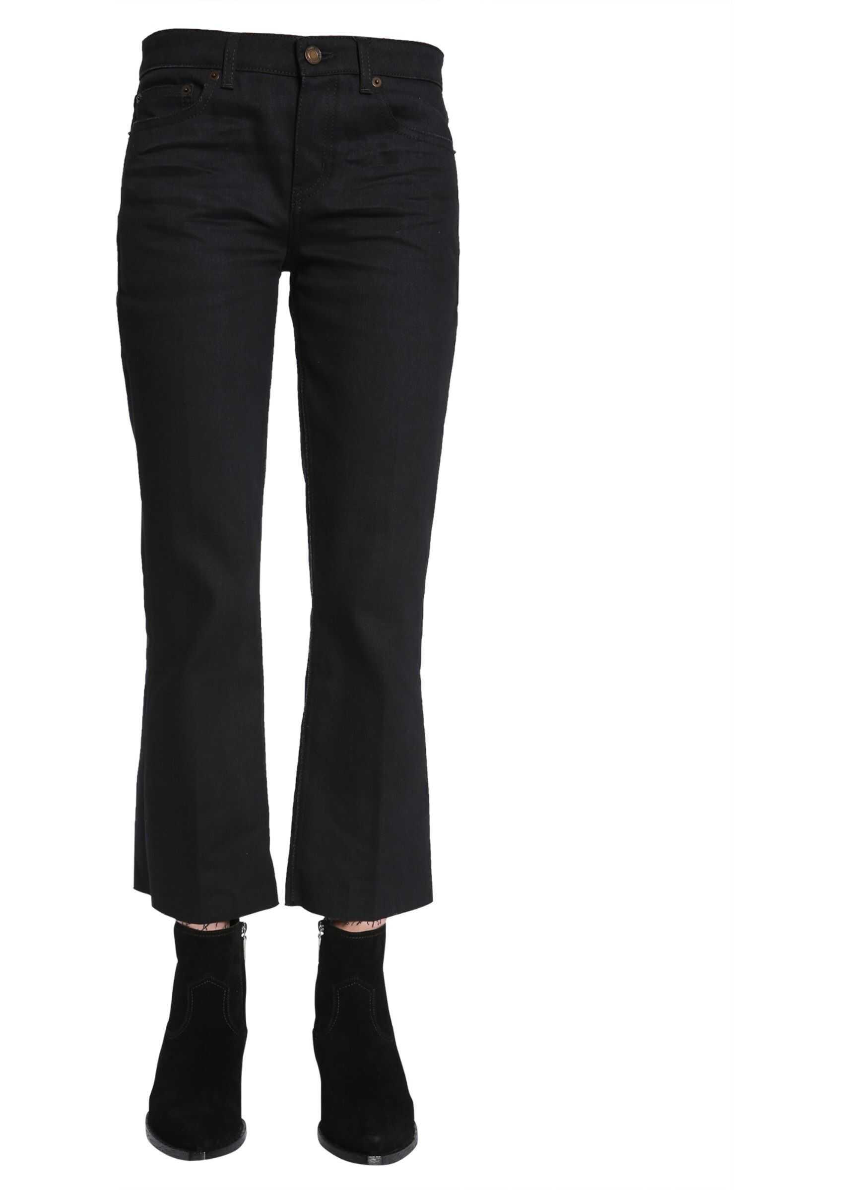 Saint Laurent Cropped Raw Edge Jeans BLACK