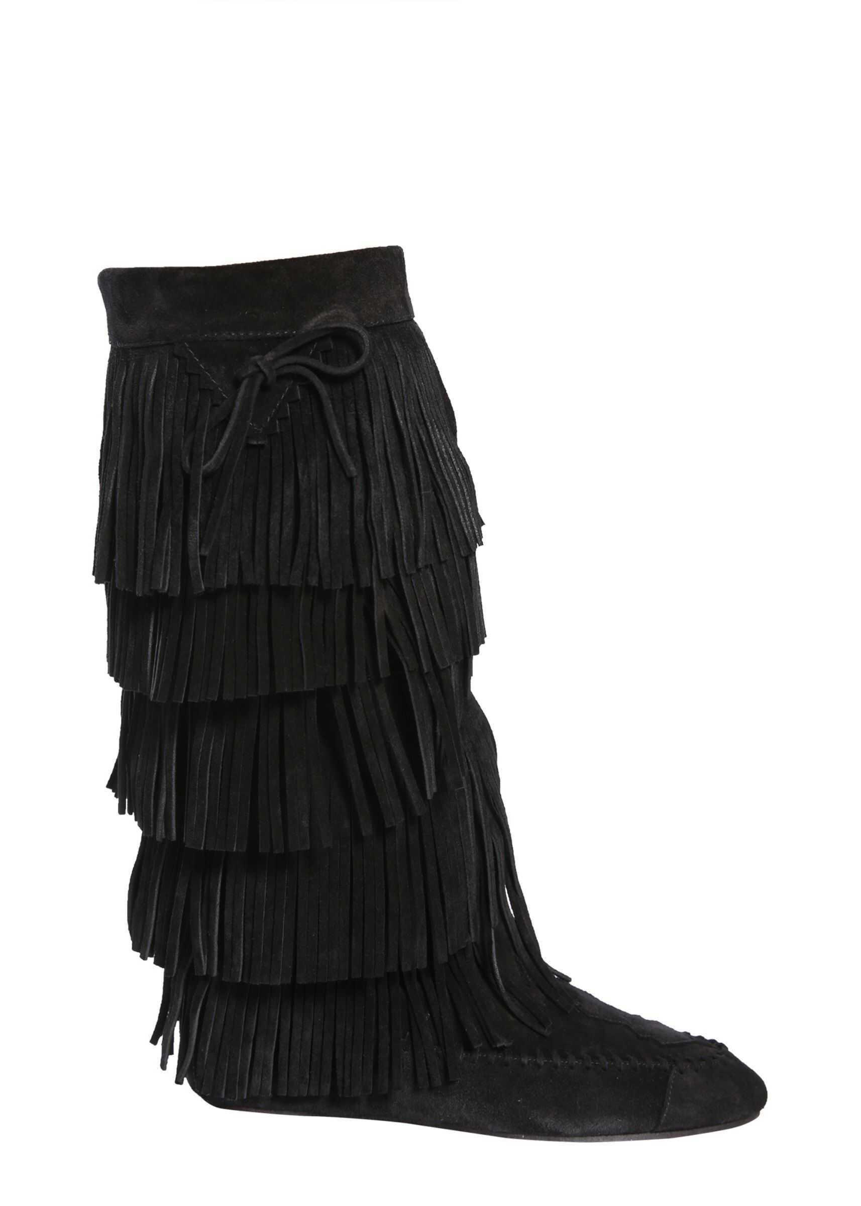 Saint Laurent Fringed Boots 529308_0SO001000 BLACK imagine b-mall.ro
