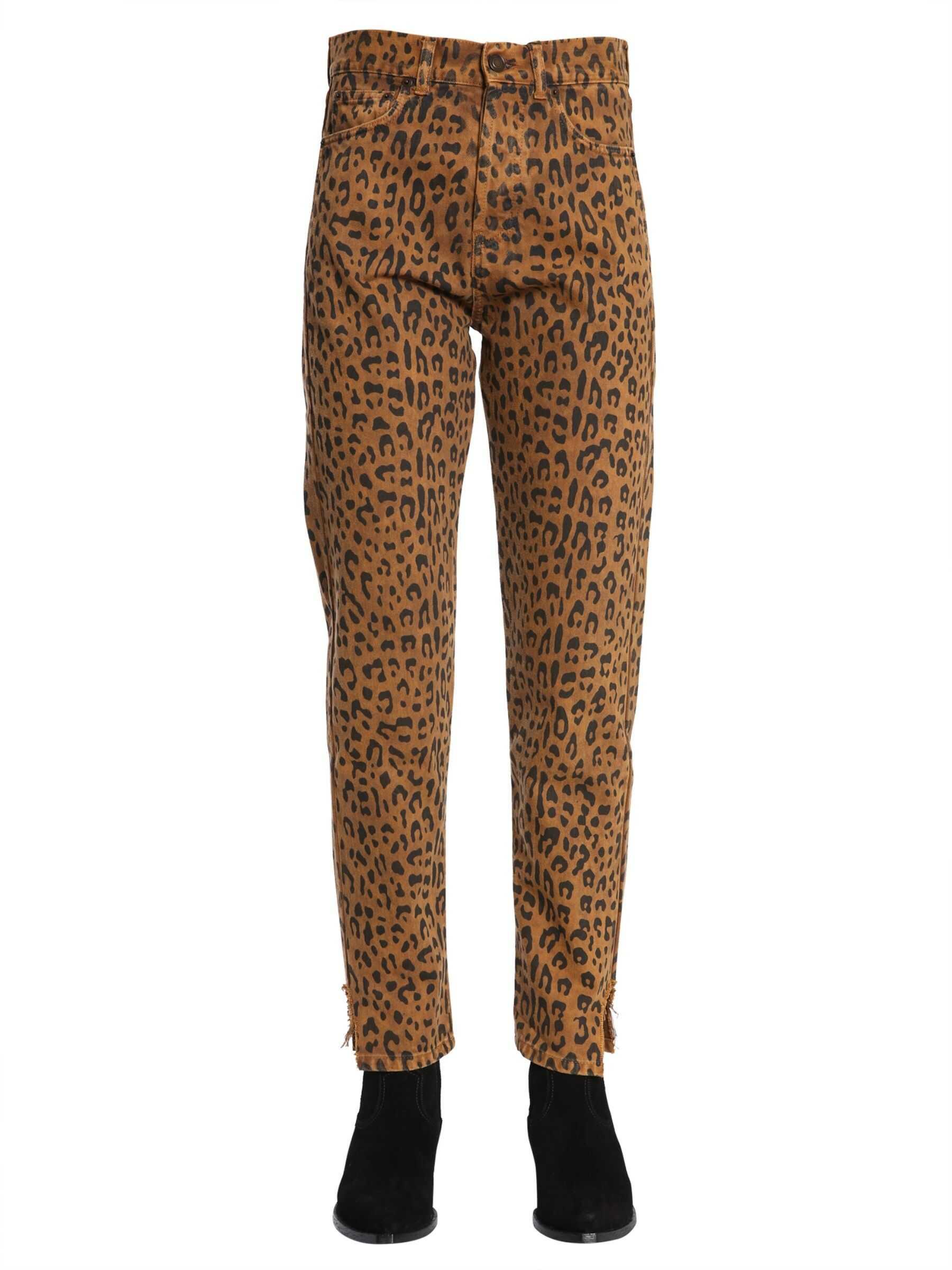 Saint Laurent Slim Fit Hjeans In Leopard Print BROWN