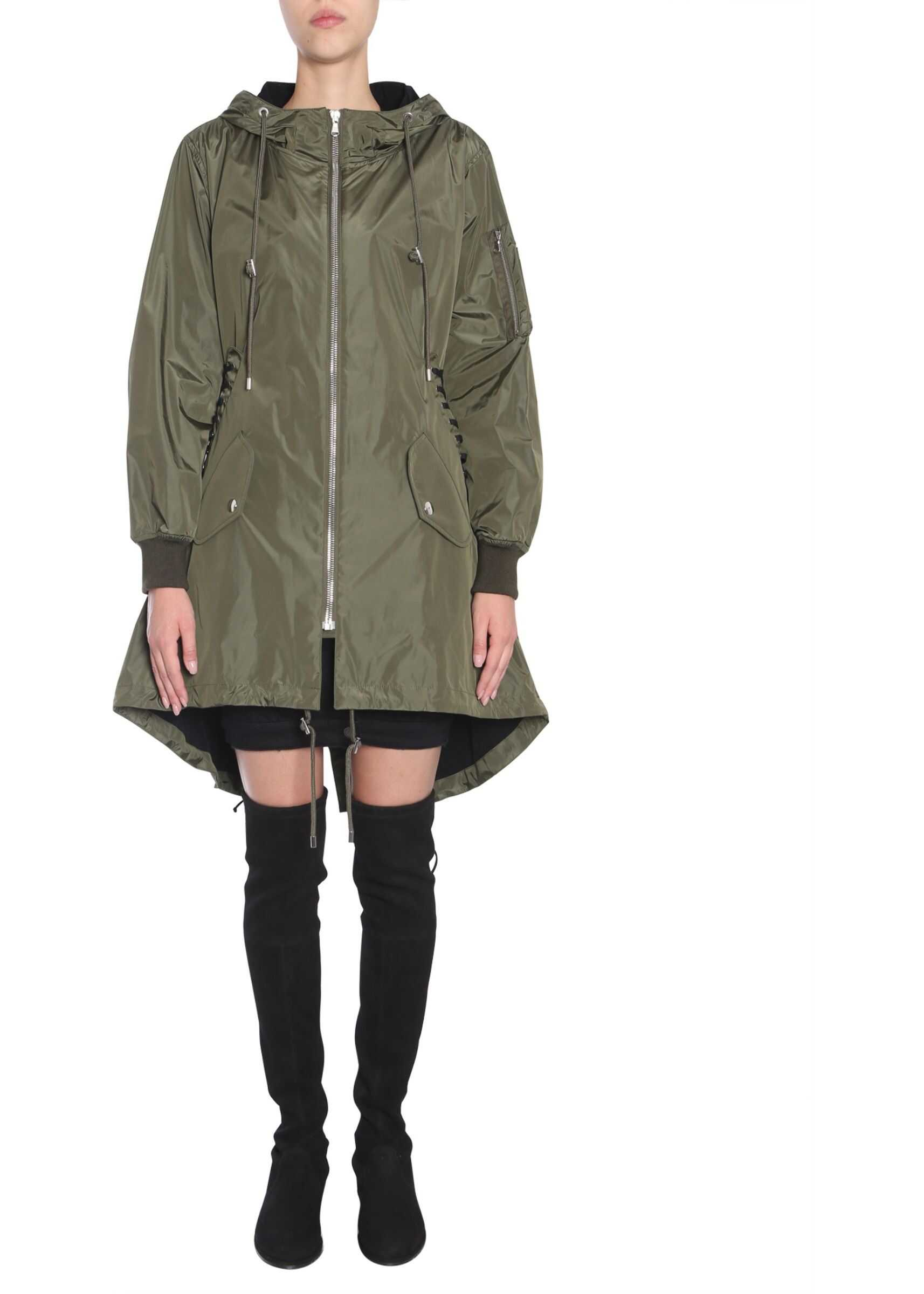 Moschino Parka With Lace-Up Detail MILITARY GREEN