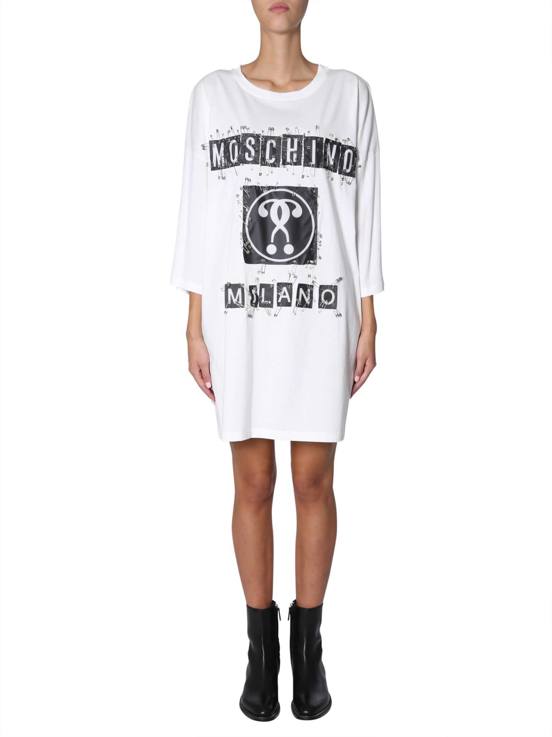 Moschino Oversize Fit Dress With Logo WHITE
