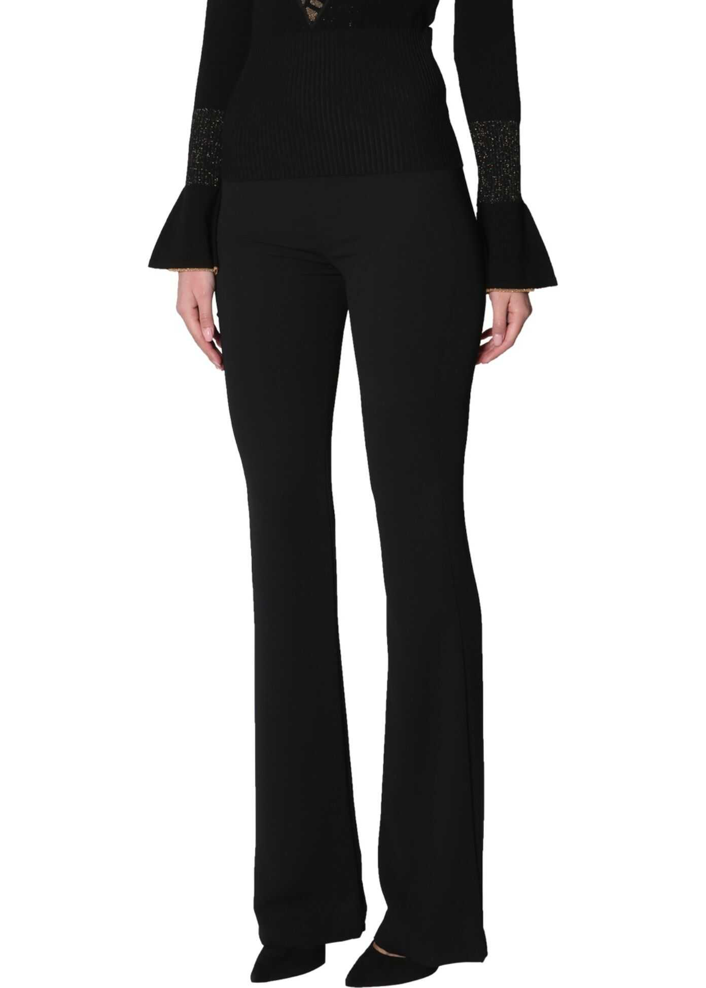 Versace Collection Sweater With Ruffle Sleeves BLACK