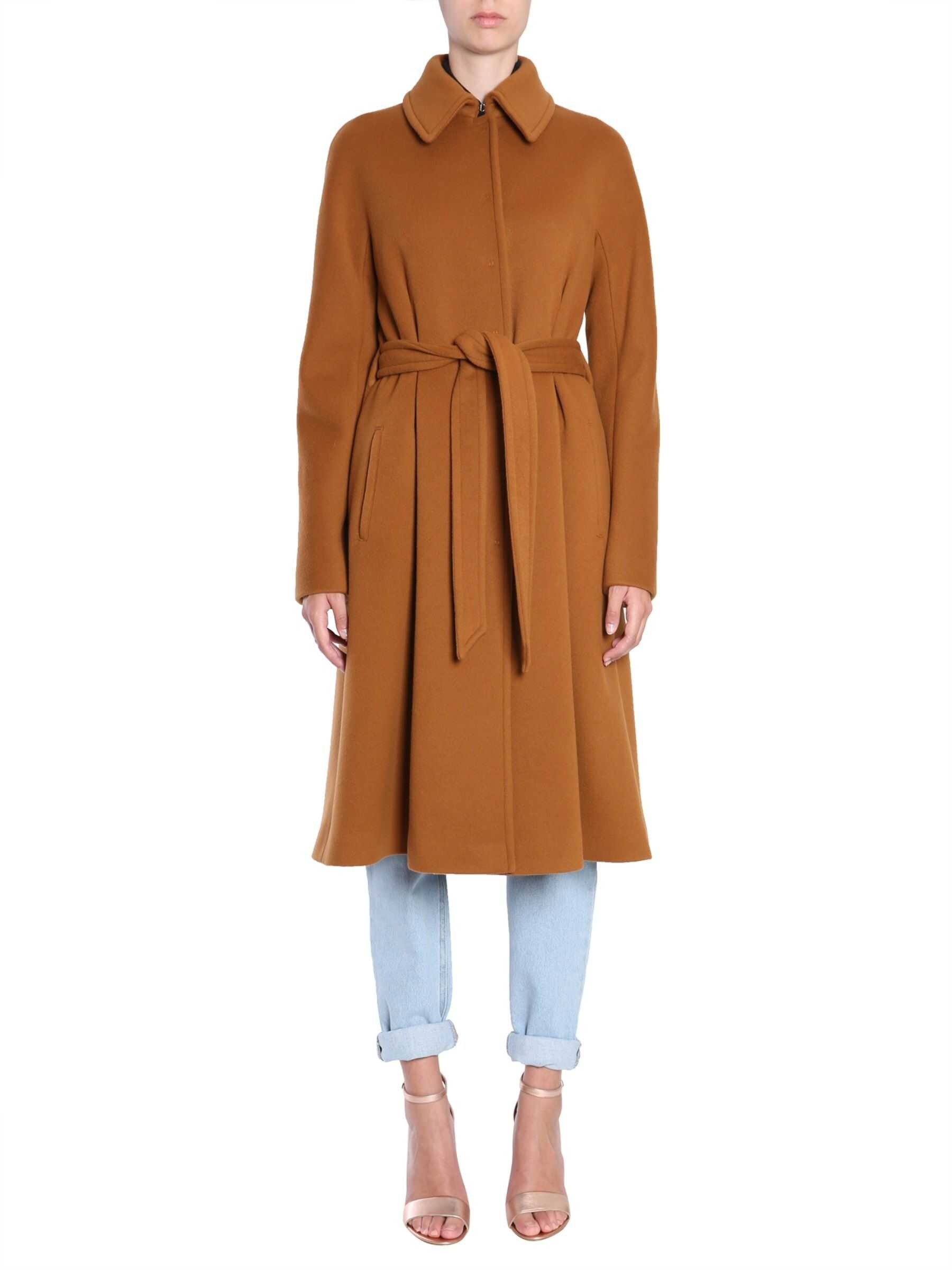 Alberta Ferretti Wool And Cashmere Coat 0611_66300098 BROWN image0