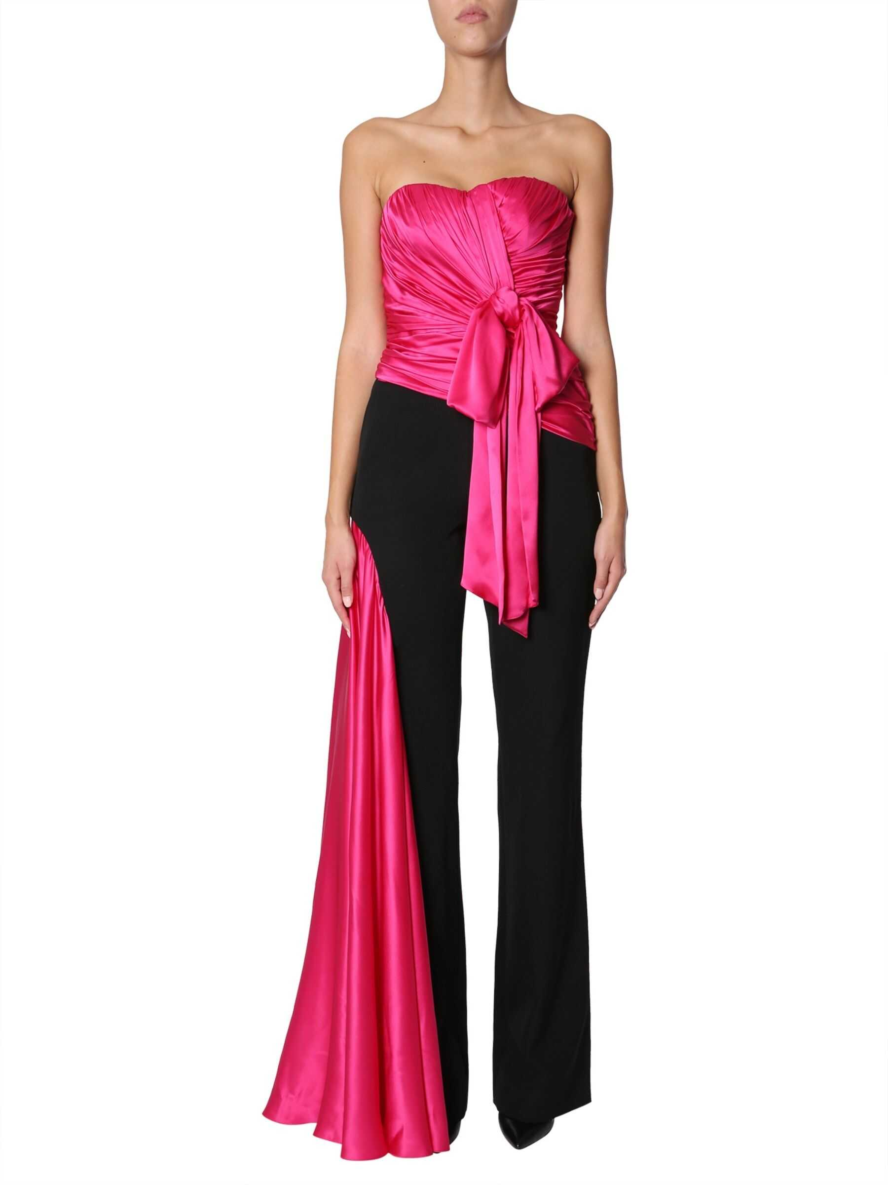 Moschino Jumpsuit With Silk-Draped Inserts BLACK