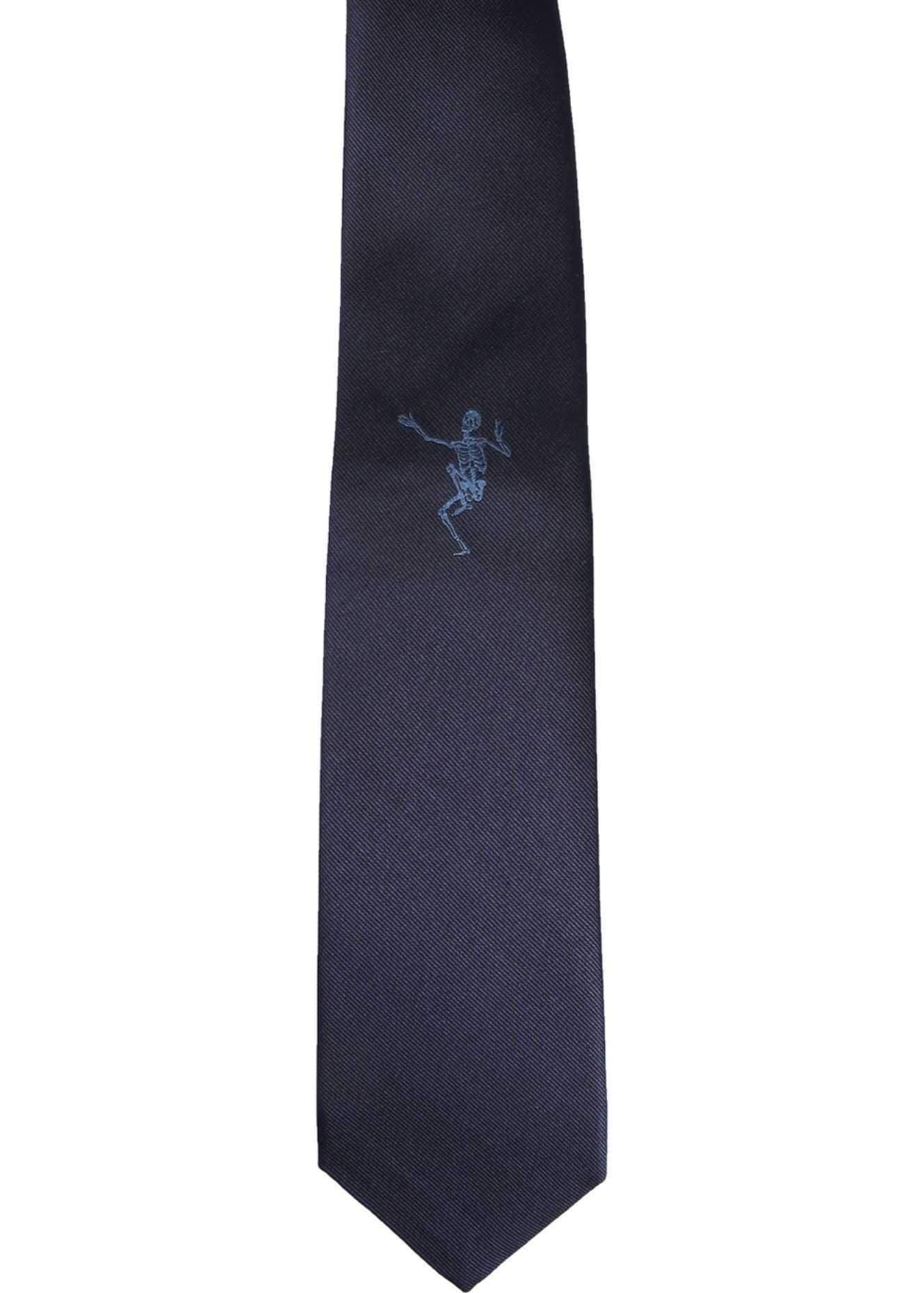 Alexander McQueen Dancing Skeleton Tie BLUE
