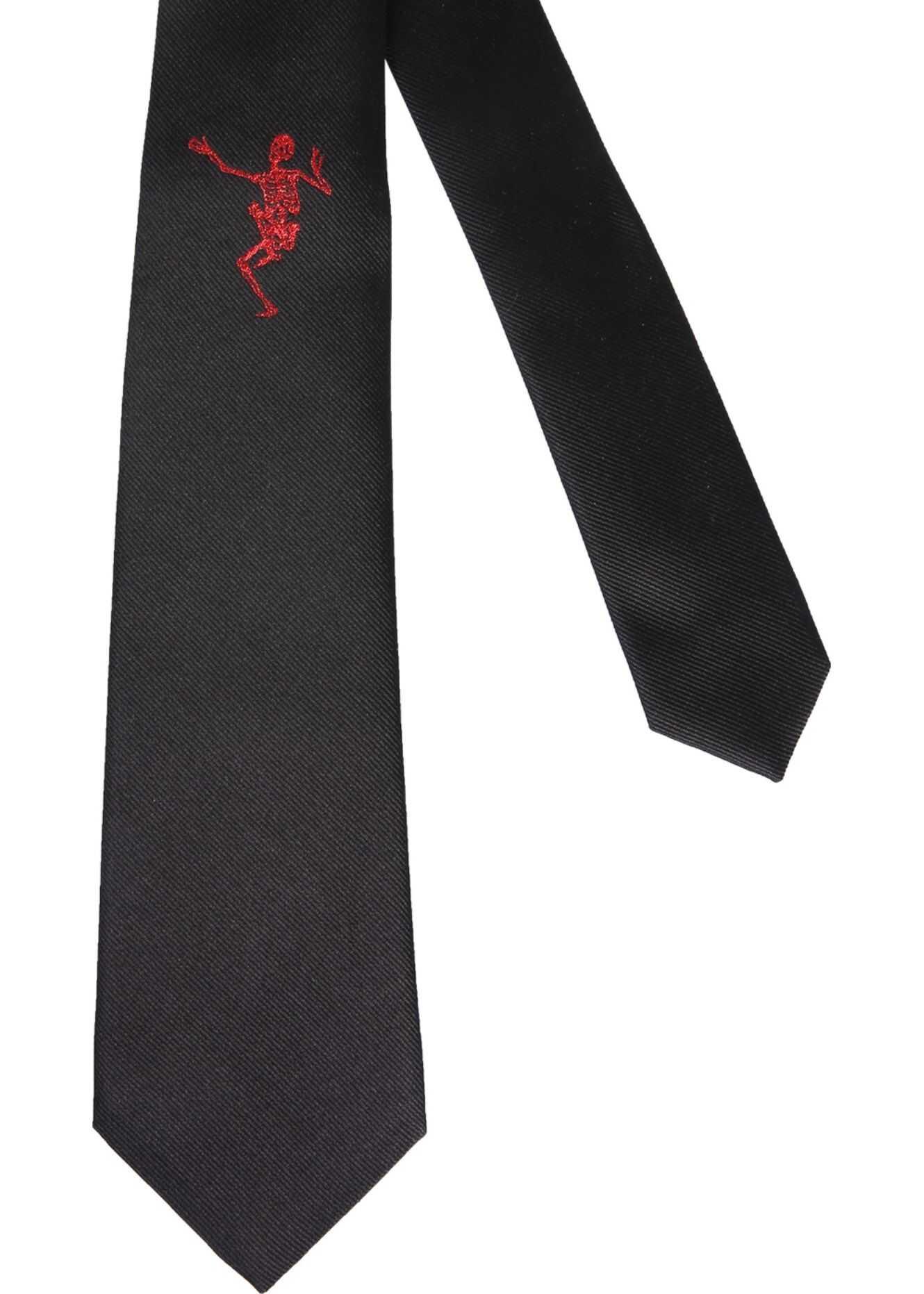 Alexander McQueen Dancing Skeleton Tie BLACK