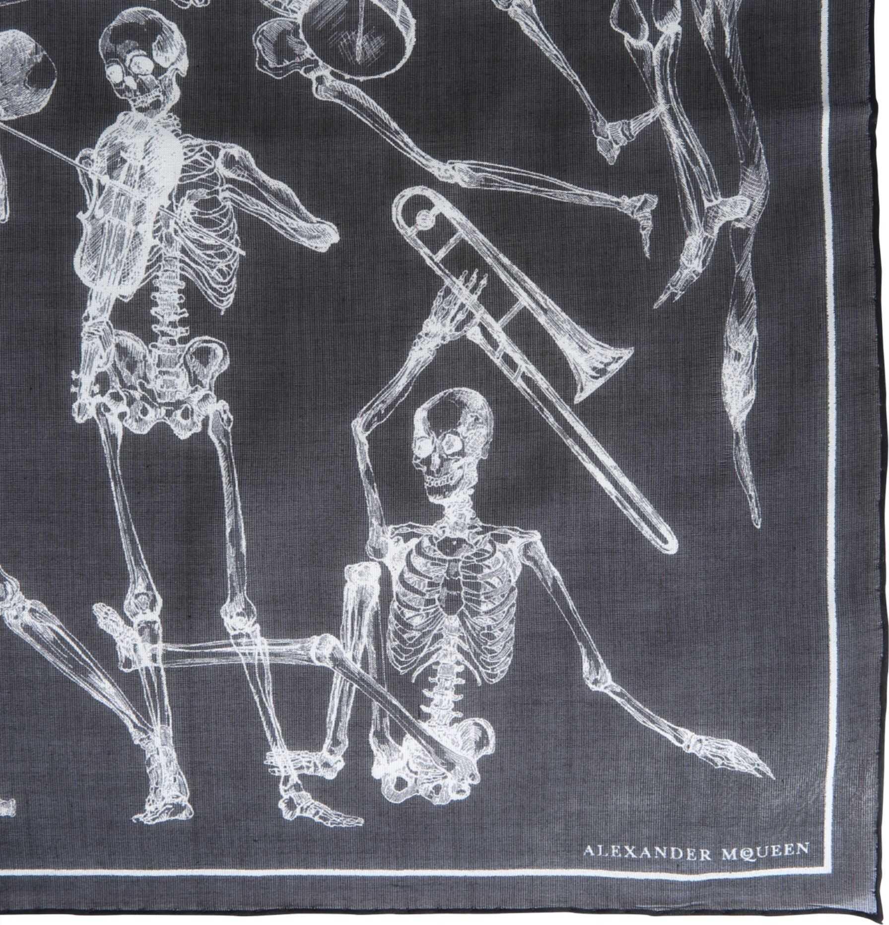 Alexander McQueen Dancing Skeleton Scarf BLACK