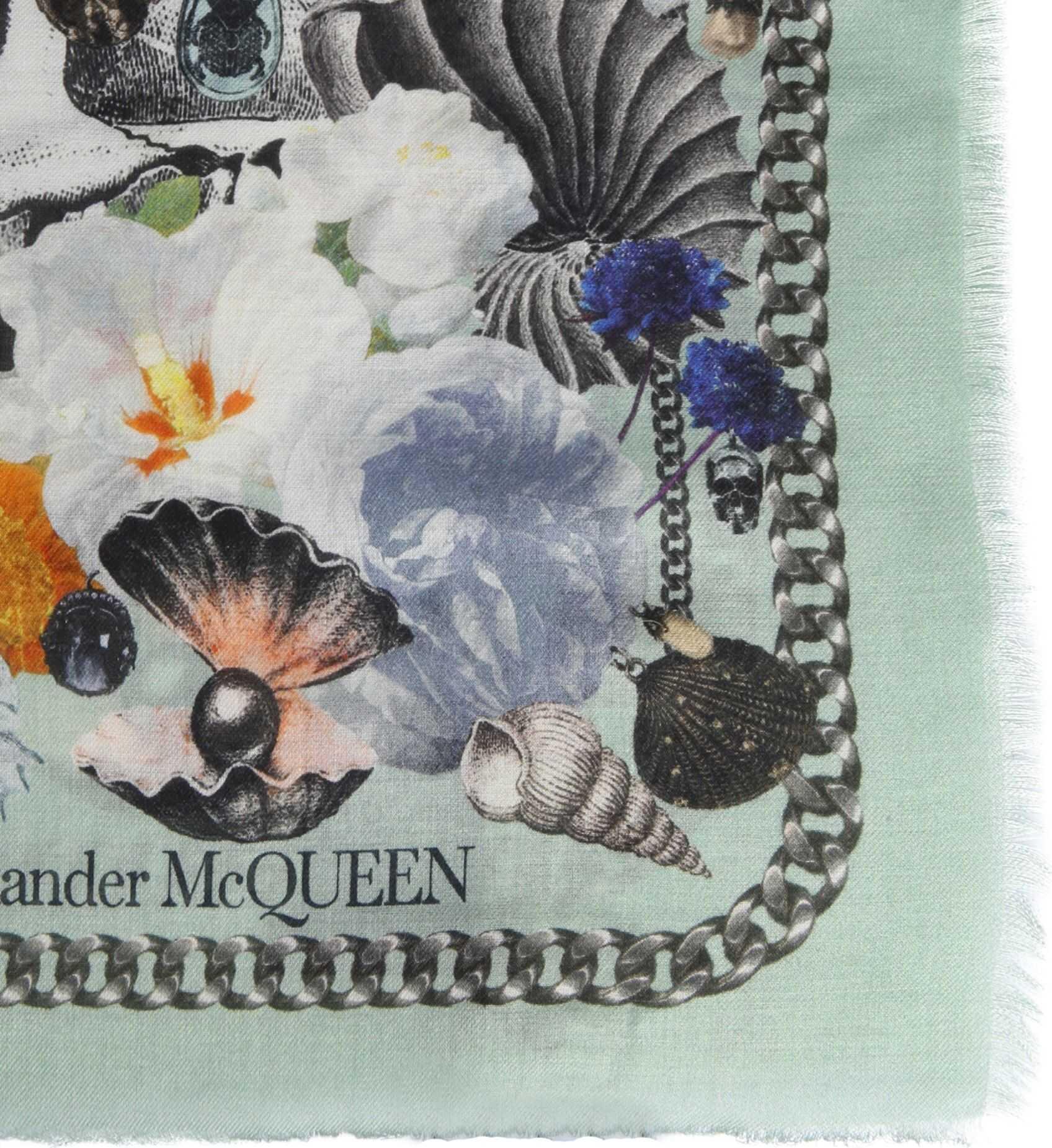 Alexander McQueen Pashmina Neptune Treasure Foulard GREEN