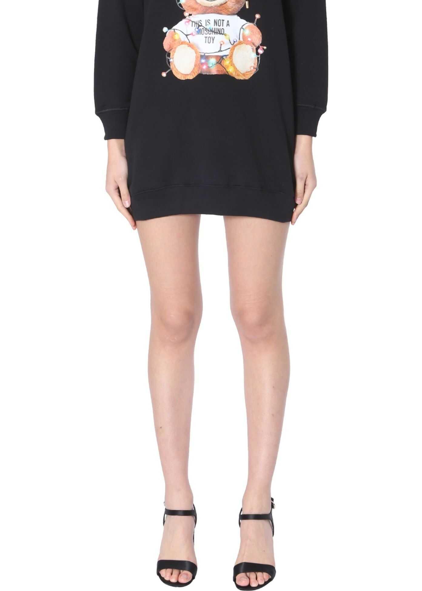 Moschino Hooded Fleece Dress BLACK