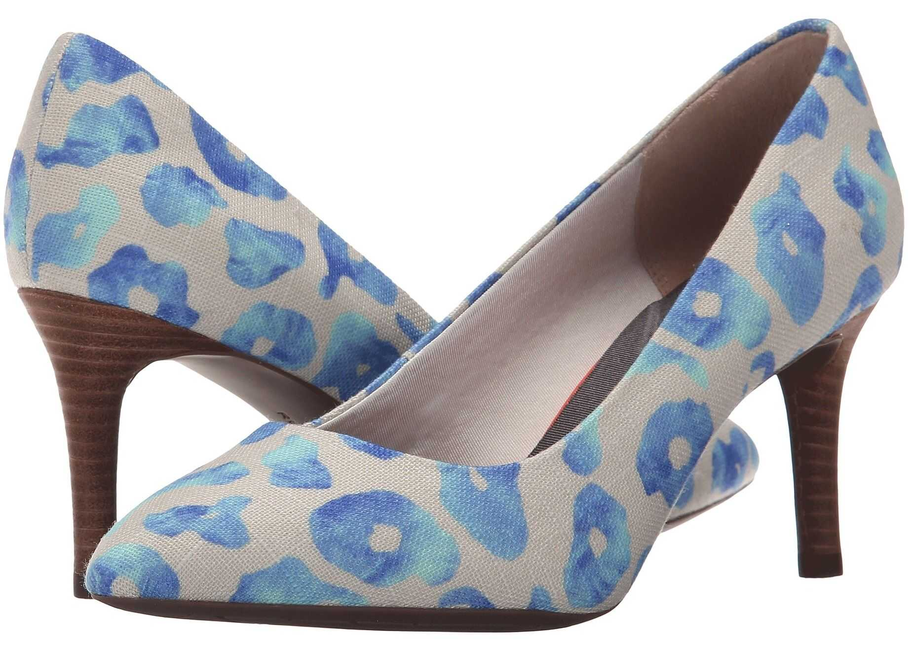 Rockport Total Motion 75mm Pointy Toe Pump Blue Leo Canvas