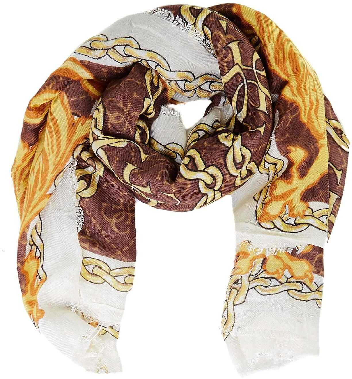 GUESS Scarf with ornamental print Brown