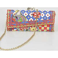 Genti Plic Printed Leather Wallet Bag Femei