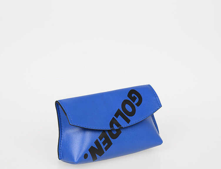Golden Goose Leather Clutch with Printed Logo BLUE