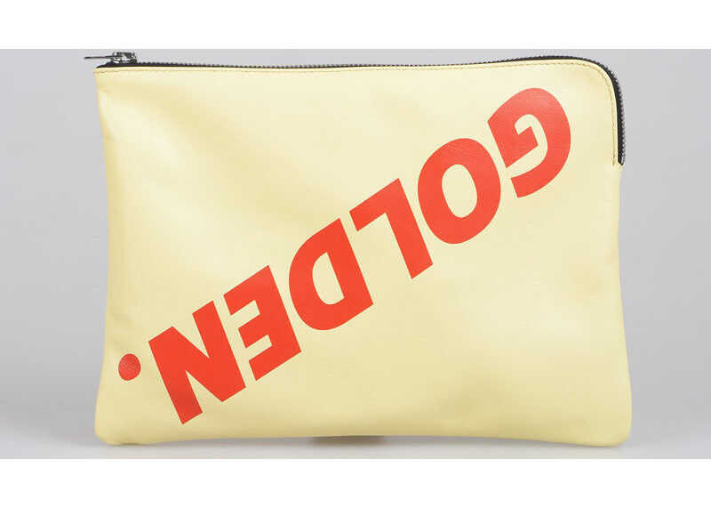 Golden Goose Leather Clutch TOAST BAG with Printed Logo BEIGE