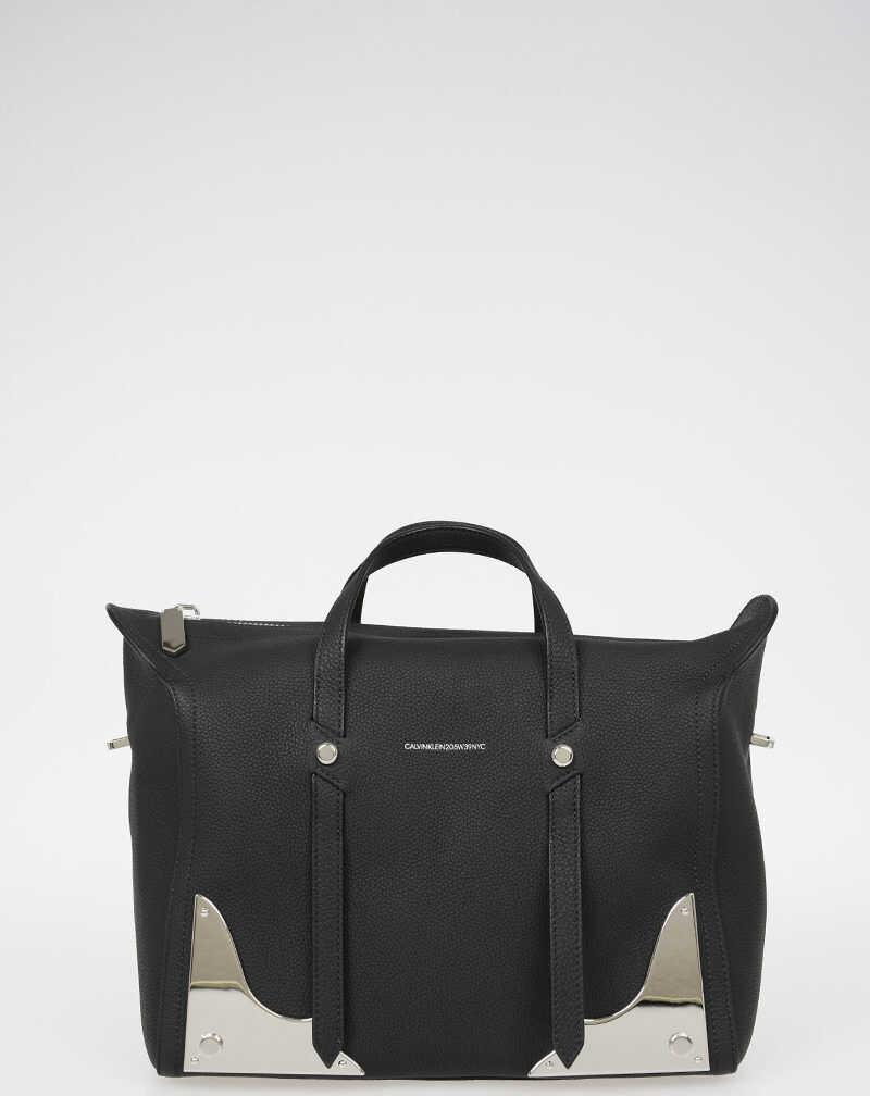 Calvin Klein 205W39NYC Leather Bowler Bag BLACK