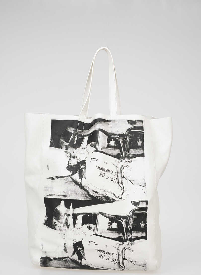 Calvin Klein 205W39NYC ANDY WARHOL Printed Leather Shopping Bag WHITE