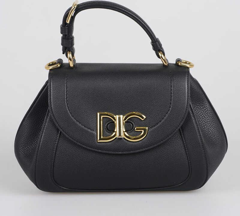 Dolce & Gabbana Leather WIFI Shoulder Bag BLACK