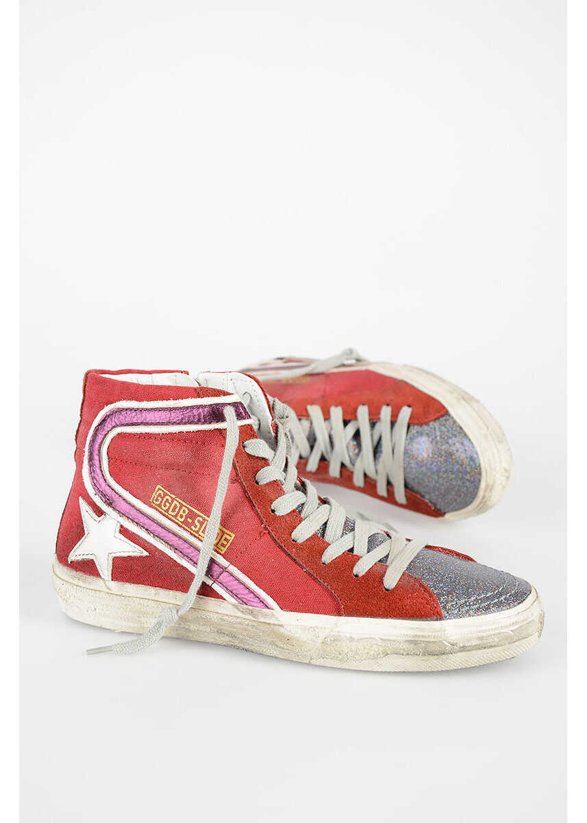 Golden Goose Glittered Sneakers RED