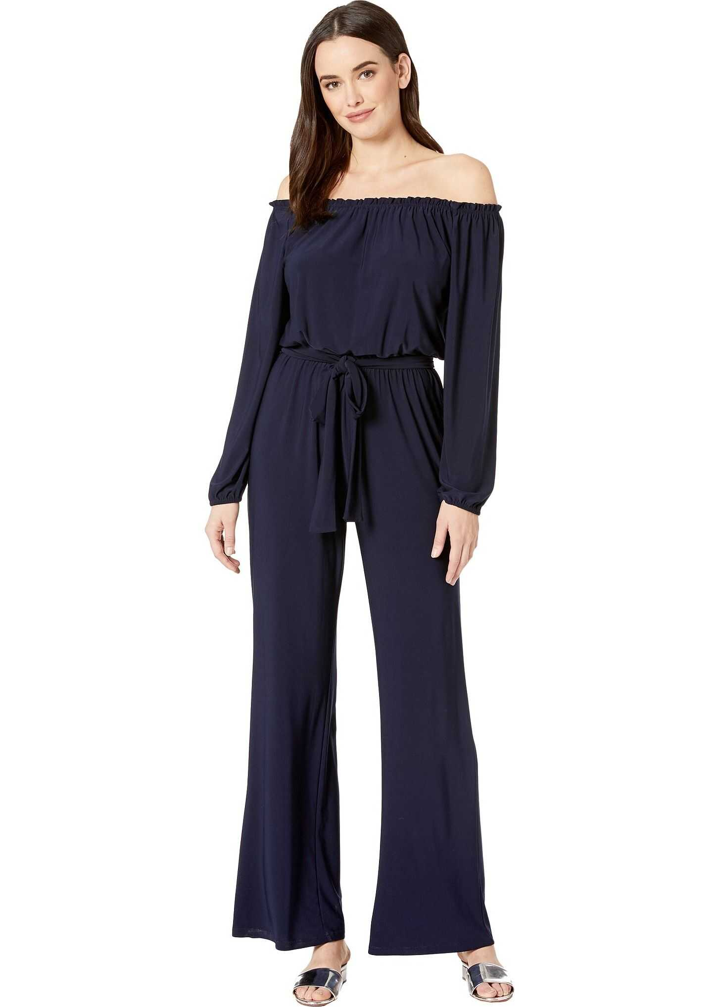 Nine West Ity Matte Jersey Long Sleeve Jumpsuit with Sash Navy