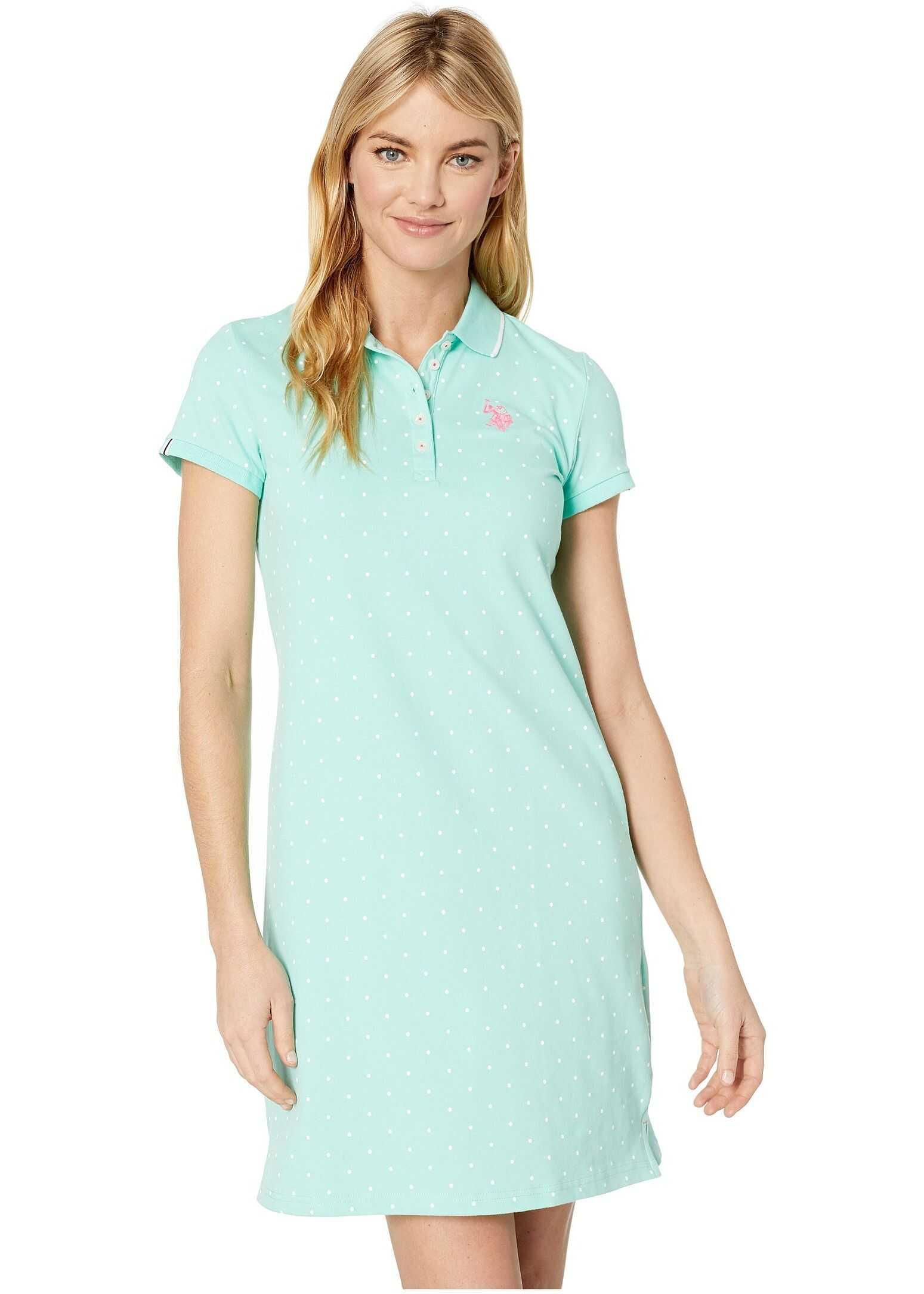 U.S. POLO ASSN. Dot Polo Dress Trellis Aqua