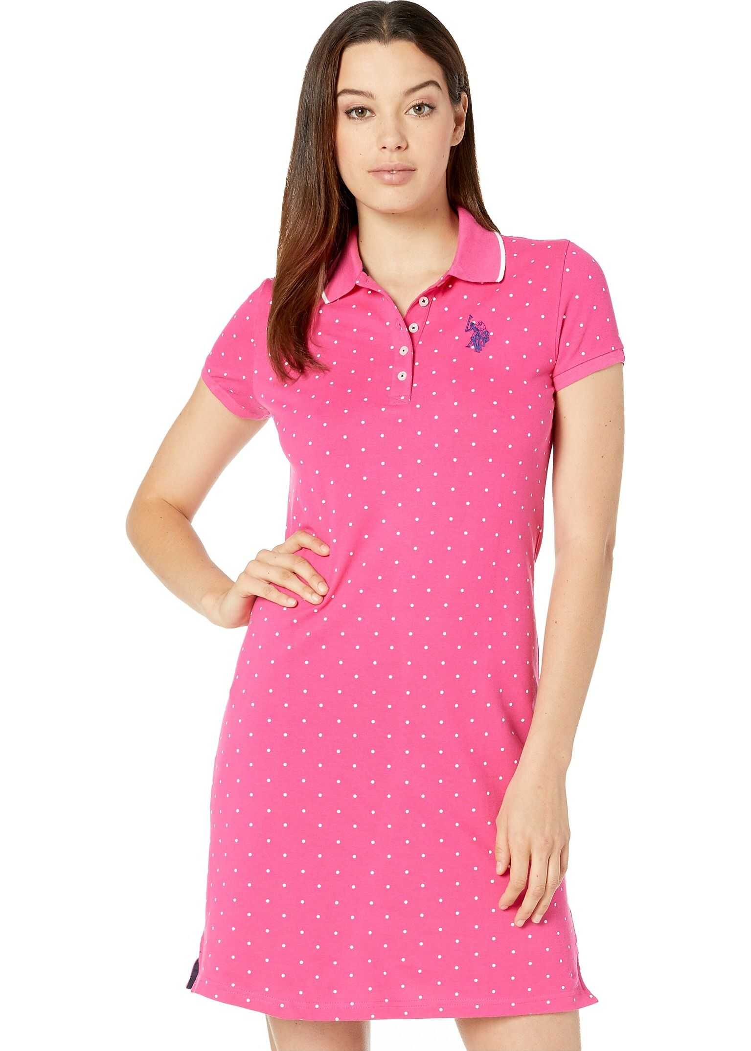 U.S. POLO ASSN. Dot Polo Dress Pink Carmine