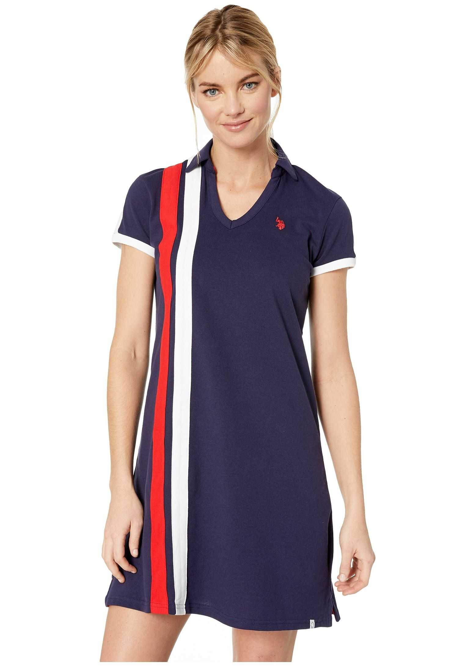 U.S. POLO ASSN. Vert Stripe Dress Evening Blue