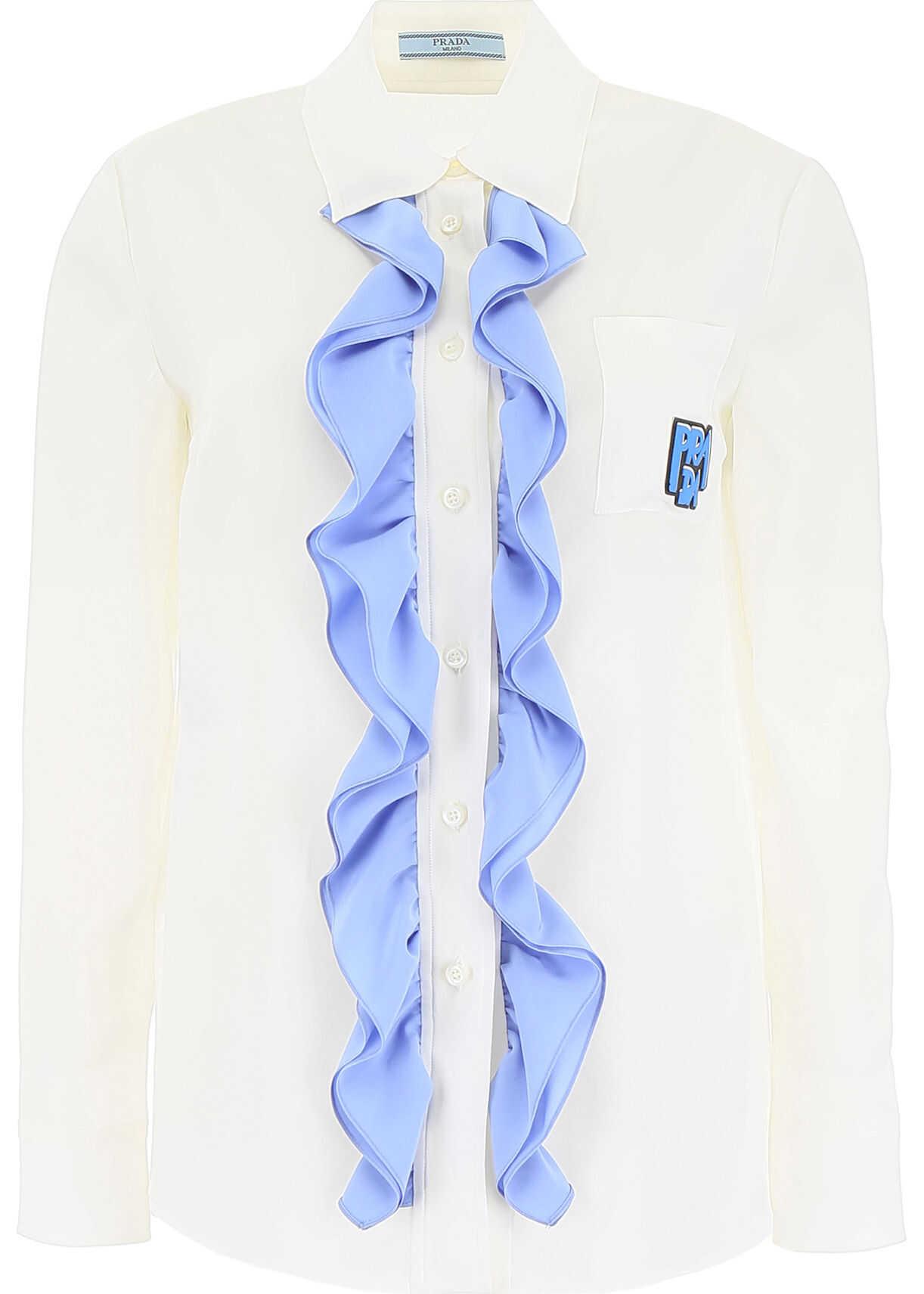 Prada Ruffled Silk Shirt With Logo AVORIO PERVINCA