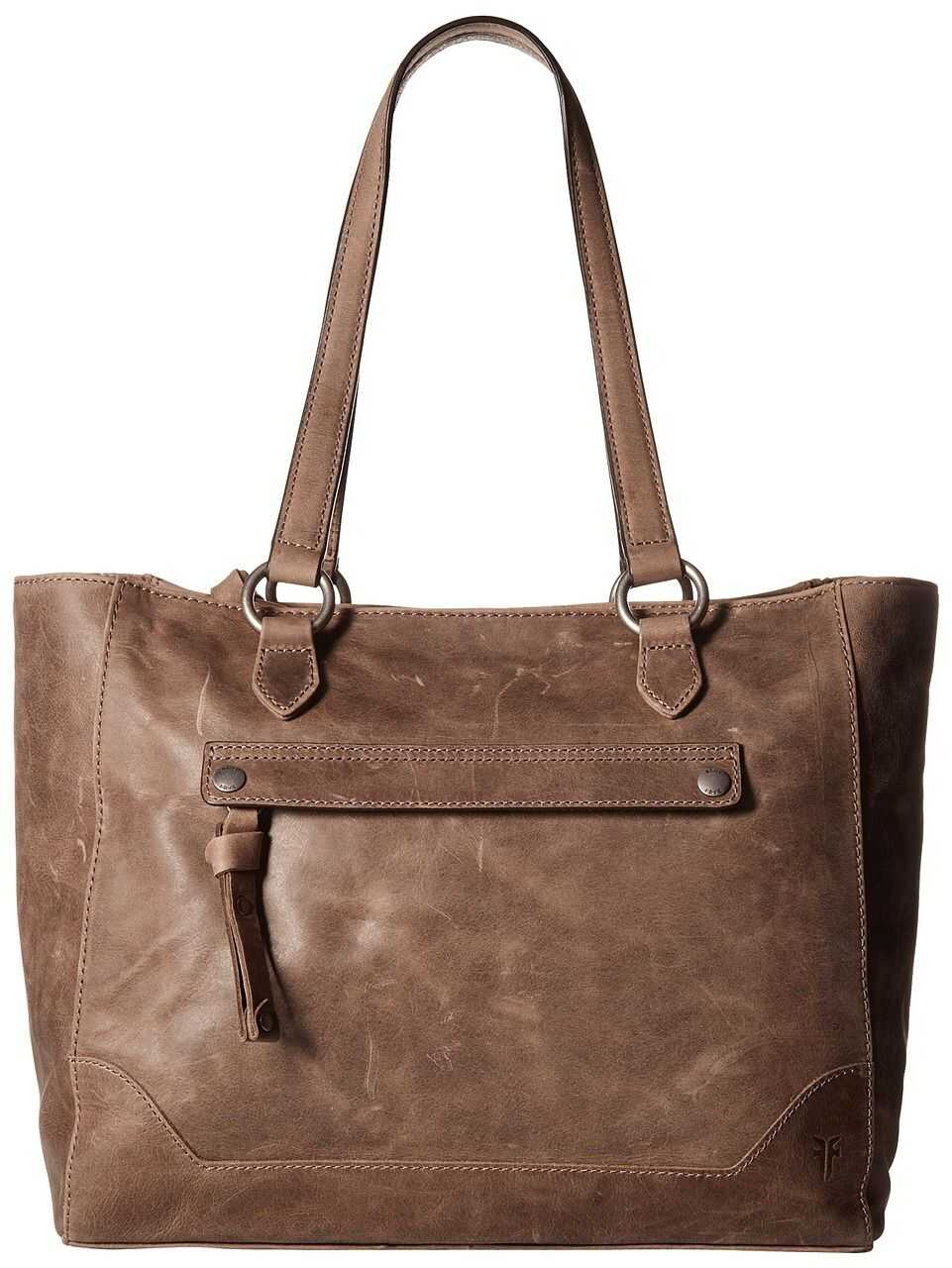 Frye Melissa Zip Tote Grey Smooth Pull Up